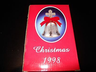 """CHRISTMAS SILVER PLATED ENGRAVED BELL 1998 INTERNATIONAL SILVER COMPANY 4"""" Bell"""