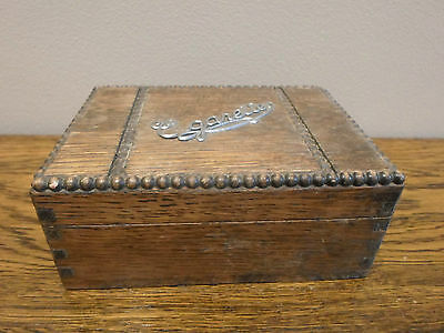Vintage Art Deco 1930s cigarettes box with decorative beading, stationery etc