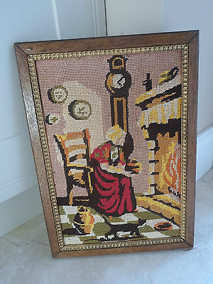 Vintage French completed needlepoint tapestry, traditional fireside scene