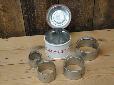 Vintage Tala Pastry Cutters With Handles Set Of Four In Tin With Hinged Lid