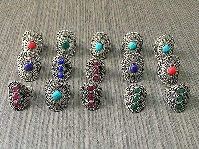 WHOLESALE LOT 15 pcs TURQUOISE &MULTI-STONE.925 SILVER PLATED RINGS 95 GMS