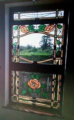 Large Vintage 3 Panel Stained Glass Leaded Window