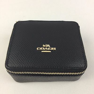 NWT COACH Leather Jewelry Case/Box Black F66502 MSRP $100
