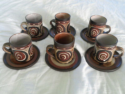 Studio Pottery Set of Six Briglin Cups and Saucers Swirl Pattern.