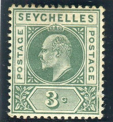 "SEYCHELLES-1903 3c Dull Green ""DENTED FRAME"" A fine mounted mint example Sg 47a"