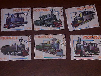 6 old Mozambique stamps. Trains. Used.