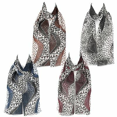 Chiffon Ladies Womens Abstract Design Scarf Shawl Wrap