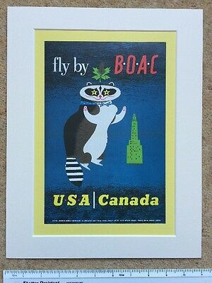 "Fly by BOAC to USA, Canada 1956: vintage airline Mounted poster 14"" x 11"""