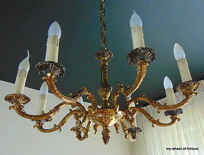 Lavish Rococo Antique French 8 Light Bronze Ceiling Light Chandelier