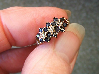9ct Sapphire and Diamond Cluster Ring - Finger Size N