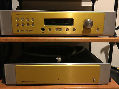 SONIC FRONTIERS LINE 3 2-PIECE PREAMP w SEPERATE POWER SUPPLY GOLD FACE w BOXES!