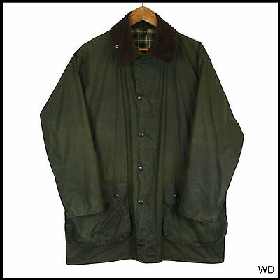 Vintage Barbour Border Country Green Wax Jacket Coat C 42 Large