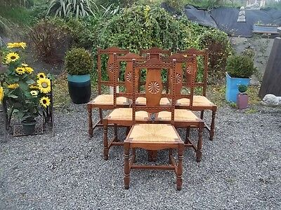 french vintage set of 6 traditional oak breton kitchen/dining chairs