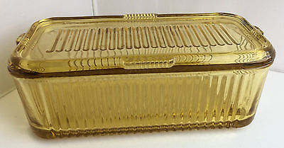 Vintage Amber Ribbed Glass Rectangular Loaf Over Dish With Matching Lid