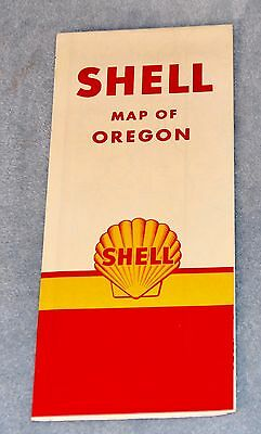 1950's SHELL Gasoline ROAD MAP of OREGON
