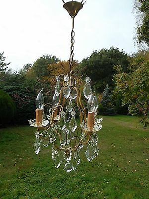 Unusual vintage French 4 arm bronze cage Chandelier (BN520)