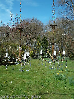 A pretty pair of vintage French 3arm bronze chandeliers (BB3)