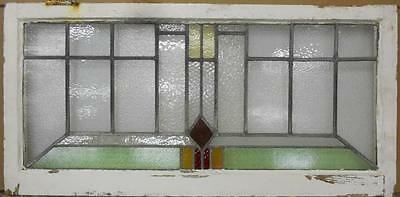 "OLD ENGLISH LEADED STAINED GLASS WINDOW TRANSOM Pretty Geometric 40.25"" x 19.75"""
