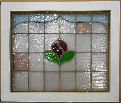 "VICTORIAN ENGLISH LEADED STAINED GLASS WINDOW Floral 25.5"" x 21.5"""