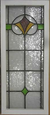 """LARGE OLD ENGLISH LEADED STAINED GLASS WINDOW Stunning Abstract 18.25"""" x 43.5"""""""