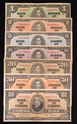 1937 Complete Set of Canadian Banknotes $1 - $100 - Deal Days!