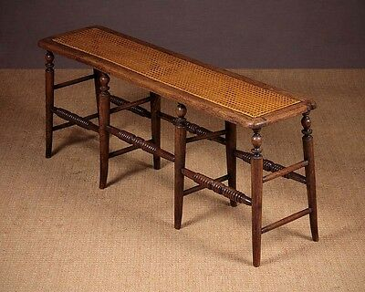 Antique 19th.c. Bergere Or Canework Top Stool c.1890