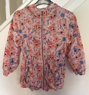 Matalan Girls Peach Floral Lightweight Coat - Age 9 Years - Excellent Condition
