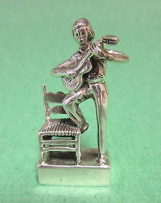 Miniature Sterling Silver Musician Figurine Guitar Player Sculpture