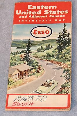 1955 ESSO Gasoline Interstate ROAD MAP Eastern United States and Canada