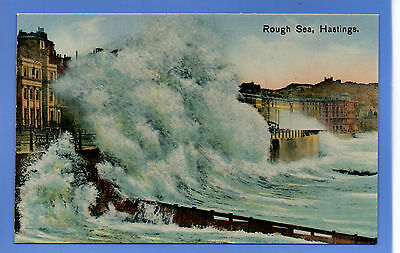 Old Vintage Postcard Rough Sea Hastings Sussex