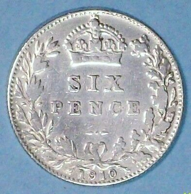 Great Britain 6 Pence 1910 Very Fine 0.9250 Silver Coin