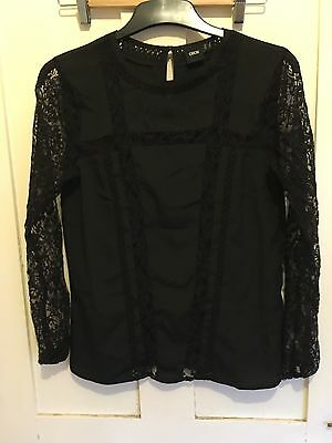 Asos Black And Lace Blouse/top Size 8 BNWOT