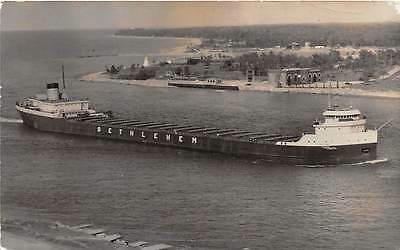 GREAT LAKES IRON ORE SHIP OF BETHLEHEM STEEL CORP, REAL PHOTO PC used 1957