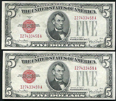 (2) Consecutive 1928-F $5 Red Seal Legal Tender United States Notes Unc