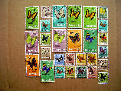 TANZANIA BUTTERFLIES Definitives 28 Stamps assembly USED to include Overprints.