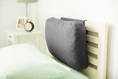 Pewter Grey Wool Feel Headboard Cushion Bed Rest Head Board Neck Support Cushion
