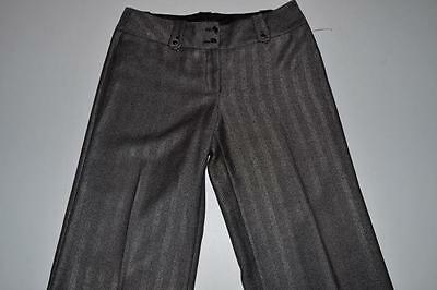White House Black Market Black Silver Striped Dress Pants Womens Size 8L 8