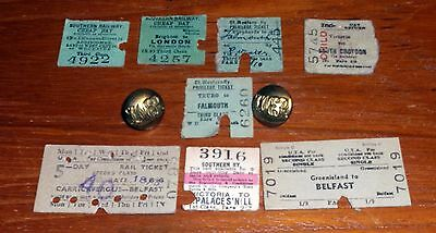 8 Railway Tickets & 2 Buttons