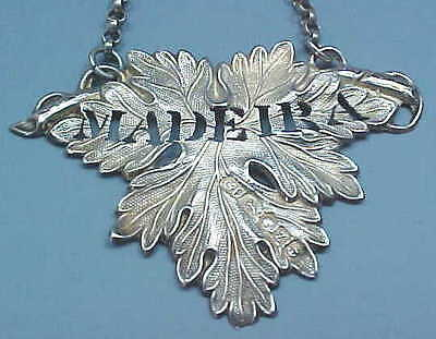 "1848 Sterling Silver Decanter Wine Label ""Madiera"" By George Unite Of Birmingham"