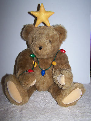 Vermont Teddy Bear All Wrapped Up In Christmas Lights