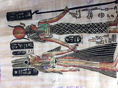 Egyptian Papyrus Painting On Paper  Antique