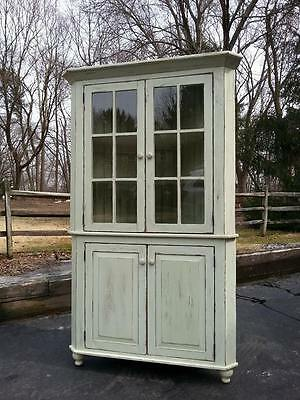 "AMISH BUILT HANDMADE UNFINISHED RECLAIMED BARN WOOD CORNER CABINET HUTCH 30""x78"""