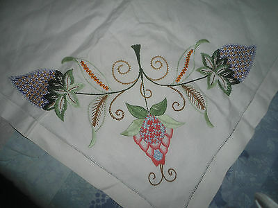 """A Gorgeous White Linen Hand Embroidered  Tablecloth 42"""" X 41"""""""