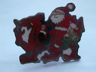 Father Christmas With A Welsh Dragon Pin Badge