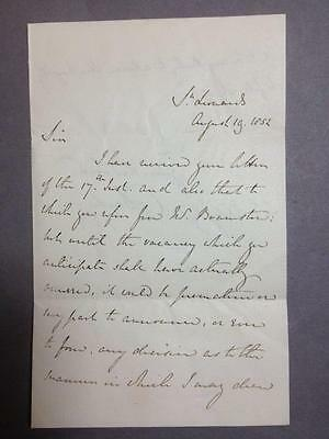 Edward Smith-Stanley, Lord Derby, British Prime Minister, ALS SIGNED letter 1852