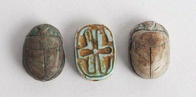 Lot of 3 Ancient Egyptian Steatite Stone Scarabs Ca. 1500-30 B.C.