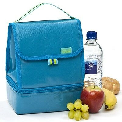 Polar Gear Lunch Cool Bag 2 Compartment Zip Insulated Food Cool Bag Turquoise