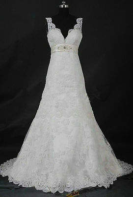 New Lace White/Ivory Wedding dress Bridal Gown Custom Size 2-4 6-8-10-12-14-16++
