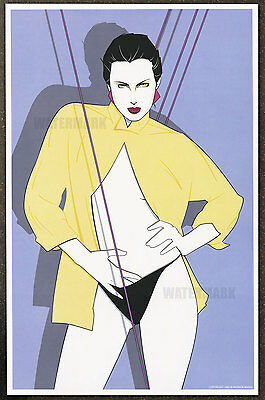 1980s Patrick Nagel Authentic Pin-Up Poster Art Print 11x17 Girl In Yellow Shirt