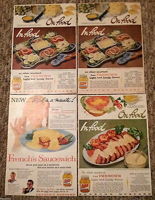 "Lot of 4 French's Mustard Saucewich ""Light and Lively"" Vintage Food Print Ads"